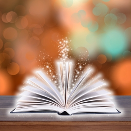 Open book with bokeh light on wood planks and dark abstract background
